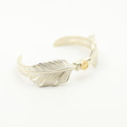 Solid Gold Disc on Silver KAZEKIRI Feather Cuff Bangle Bracelet