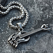 Skull Guitar Rock n' Roll Titanium Steel Pendant Necklace
