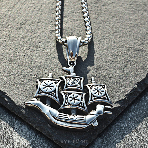 Viking Ship Titanium Steel Pendant Necklace