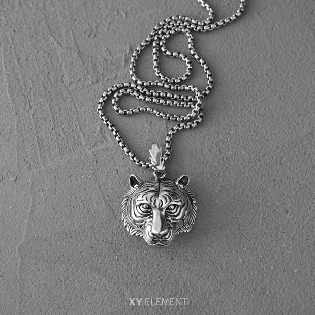 Titanium Tiger Pendant Vintage Finished Necklace
