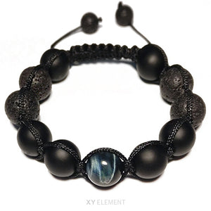 12mm AAA Grade Blue Tigers Eye Matte Agate and Lava Stone Macrame Bracelet