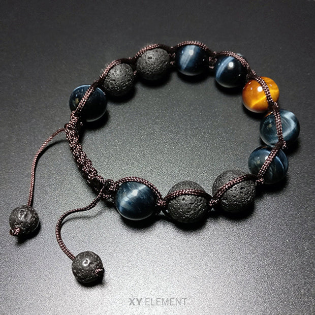 12mm AAA Grade Blue/Yellow Tigers Eye and Lava Stone Macrame Bracelet [2 Variations]