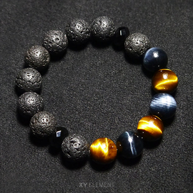 12mm AAA Grade Blue/Yellow Tigers Eye Lava Stone and Diamond-cut Agate Bracelet