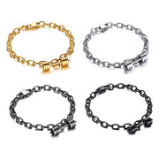 Fitness Gym Workout Dumbbell Charm Titanium Steel Bracelet [4 Colors]