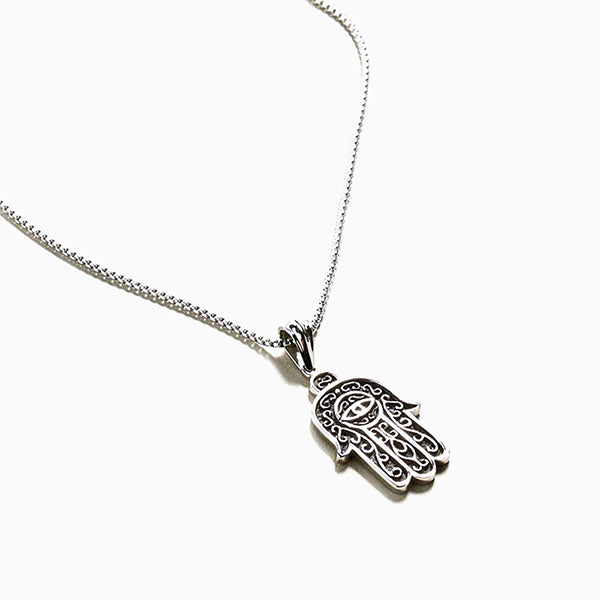 Hamsa Hand of Fatima Evil Eye Stainless Steel Pendant Necklace
