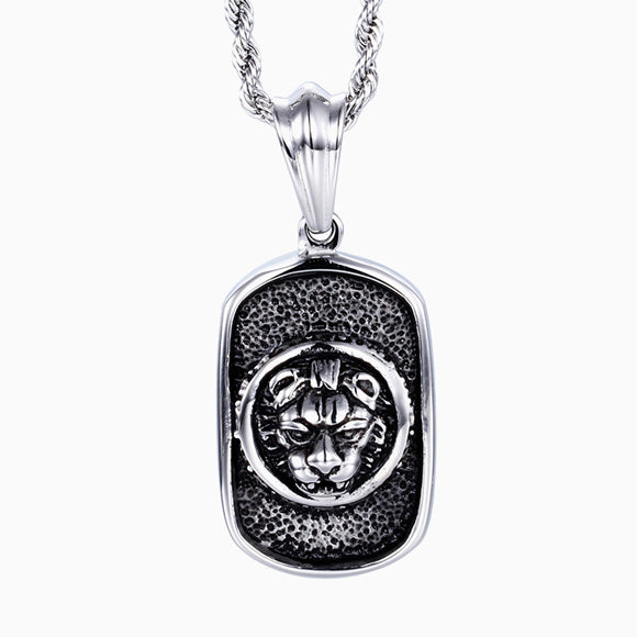 Leopard Dog Tag Pendant Titanium Steel Necklace