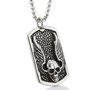 Skull Wings Titanium Dog Tag Pendant Necklace