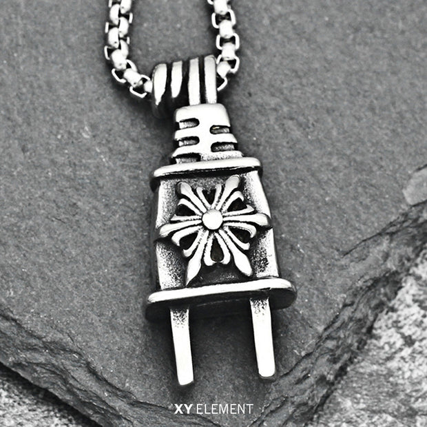 Power Plug Titanium Steel Pendant Necklace