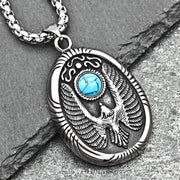 Native American Thunderbird Turquoise Decal Titanium Steel Pendant Necklace