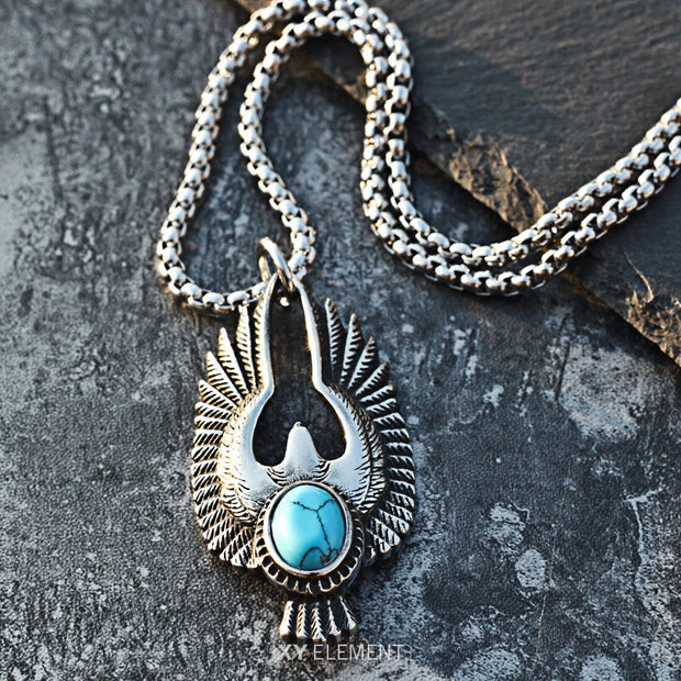 Native American Style Thunderbird Turquoise Titanium Steel Pendant Necklace