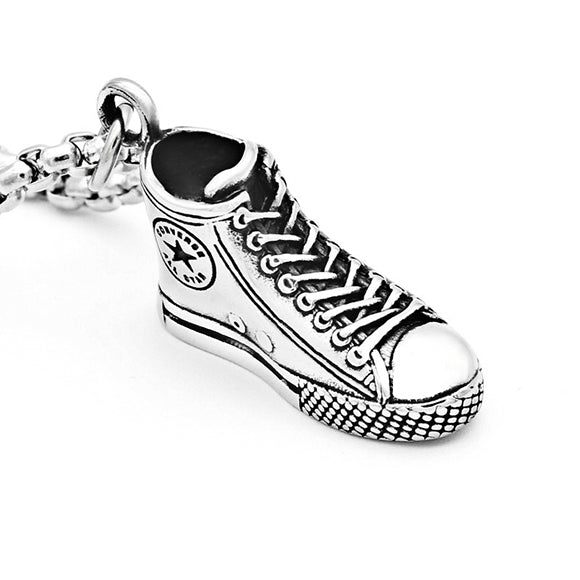 Converse All Star High Top Sneaker Titanium Steel Pendant Necklace
