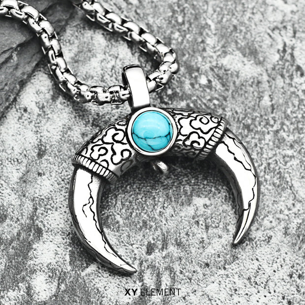OX Horn Turquoise Decal Titanium Steel Pendant Necklace