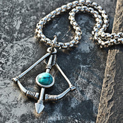 Bow and Arrow Turquoise Titanium Steel Pendant Necklace