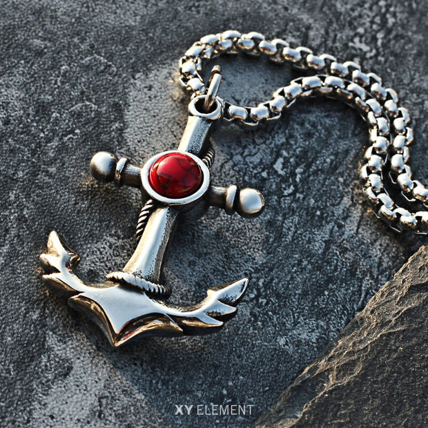 Anchor Turquoise Decal Titanium Steel Pendant Necklace