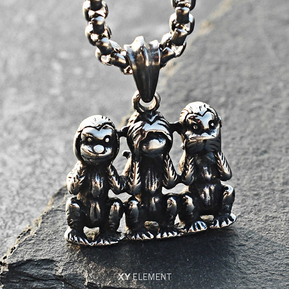 The Three Wise Monkeys Mizaru Kikazaru Iwazaru Titanium Steel Pendant Necklace