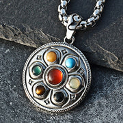 Tibet Lotus Amulet Titanium Steel Pendant Necklace