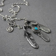 Goro Takahashi Style Titanium Steel Feather Necklace Set