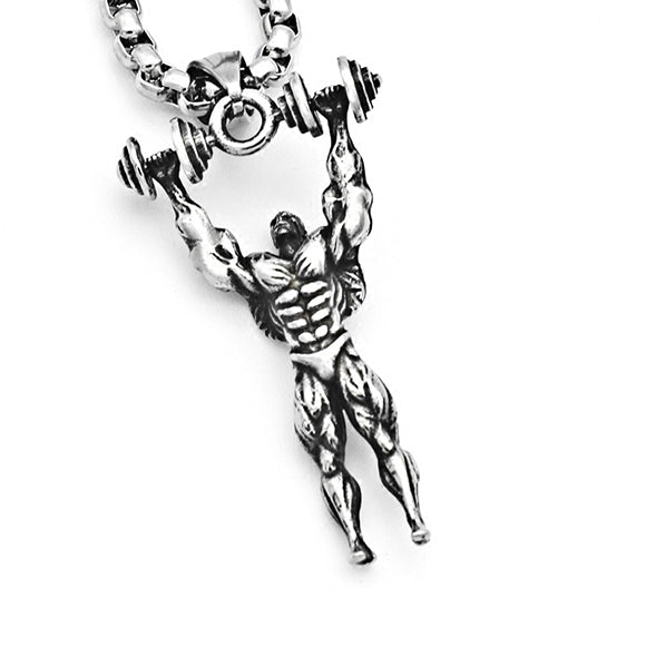 Bodybuilder Muscle Man Lifting Dumbbell Workout Pendant Titanium Steel Necklace