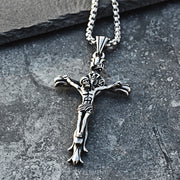 Jesus Christ Crucifix Cross Prayer Titanium Steel Necklace