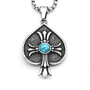 Floral Cross Turquoise Deal Titanium Steel Pendant Necklace