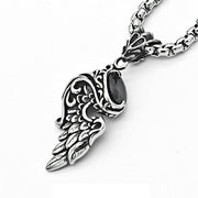 Angel's Wing Black Stone Titanium Steel Pendant Necklace