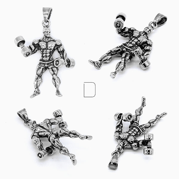 Bodybuilder Workout Muscle Man Titanium Steel Necklace [4 Variations]
