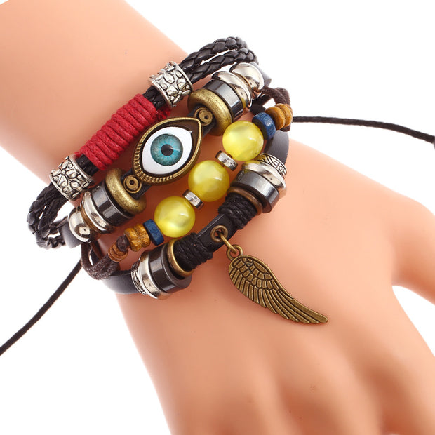 Set of 4 Braided Leather Wing Evil Eye Charms Bracelets