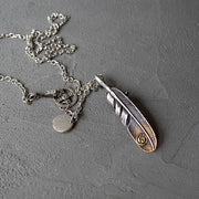 Stainless Steel Eagle Claw Feather Pendants Necklace