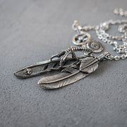 Takahashi Goro's Style Titanium Steel Claw Feather Pendants Necklace Set