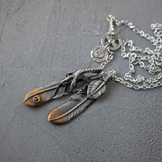 Stainless Steel Claw Feather Pendants Necklace Set