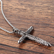 Fleur De Lis Cross Titanium Steel Pendant Necklace