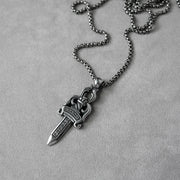 2 Sided Dagger Necklace 316L Stainless Steel Pendant Necklace