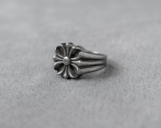 Floral Cross Ring 316 Stainless Steel, Gothic, Punk, Rock Ring