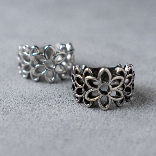 Hollow Cut Floral Ring Flower Ring 316 Stainless Steel, Gothic, Punk, Rock Ring
