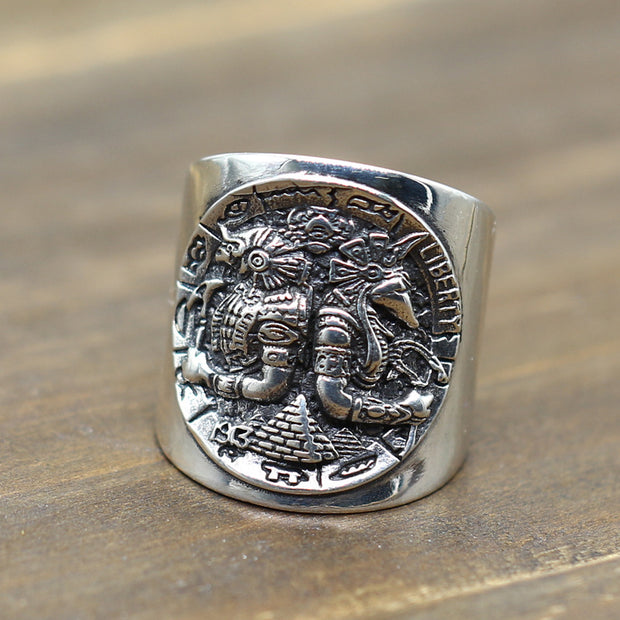 Horus and Anubis Egypt Worthy of Ancient Gods Ring Solid 925 Sterling Silver
