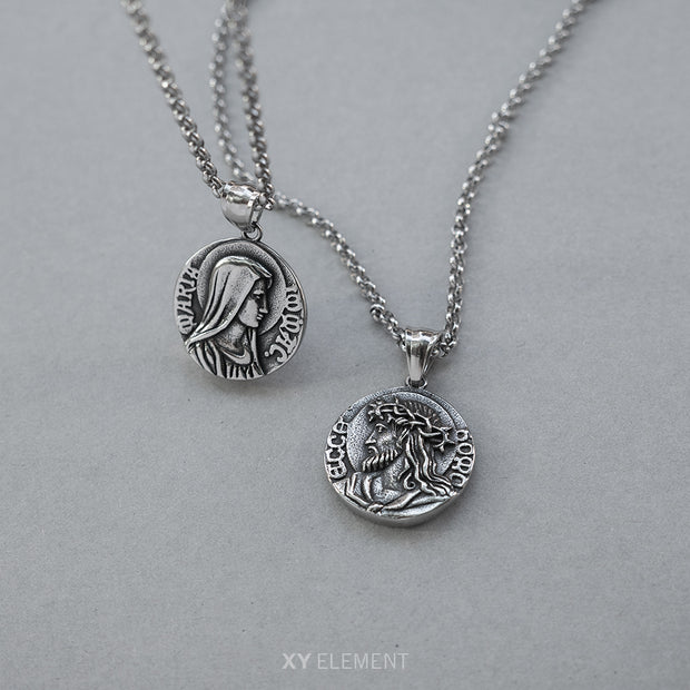 Virgin Mary Jesus Christ Two-sided Charm Pendant Necklace