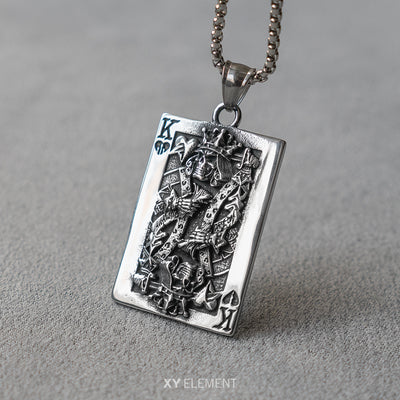 King of Hearts Skull King Broken Heart Poker Card Pendant Necklace