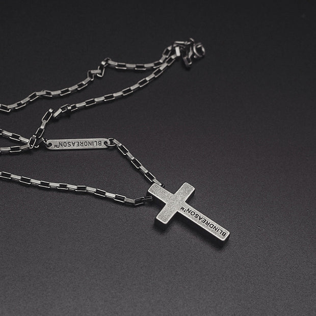 Titanium Steel Cross Pendant Antique Finished Necklace