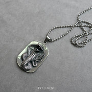 Cobra Dog Tag Ball Chain Necklace