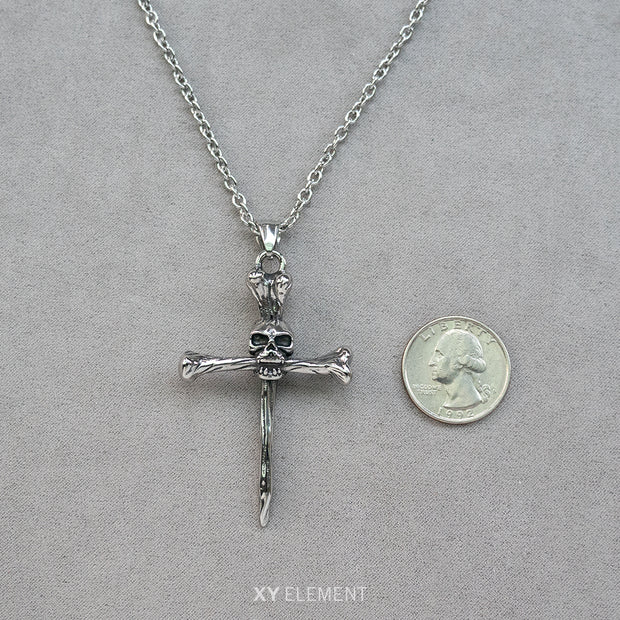 Skull Bone Cross Pendant Necklace