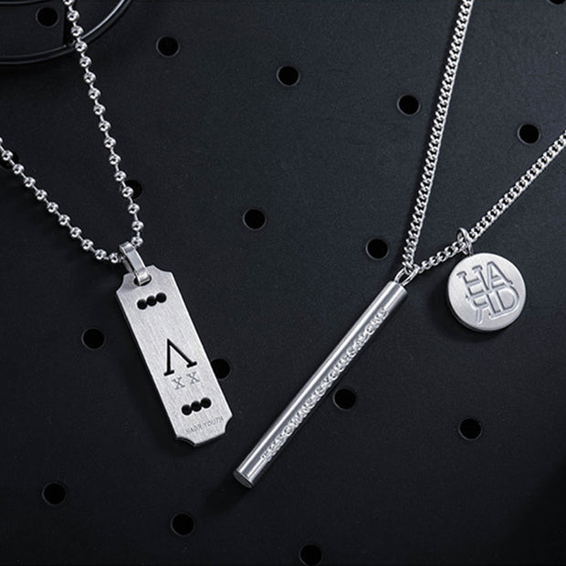 Minimalist Vertical Bar Circle Disc Charm Stainless Necklace
