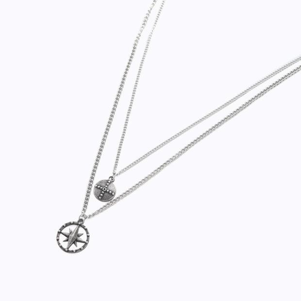 Minimalist Compass Double Layer Necklace [2 Colors]