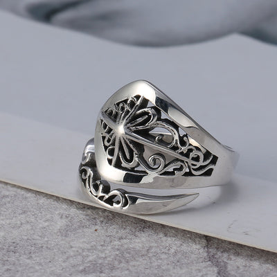 Floral Adjustable Ring Solid 925 Sterling Silver