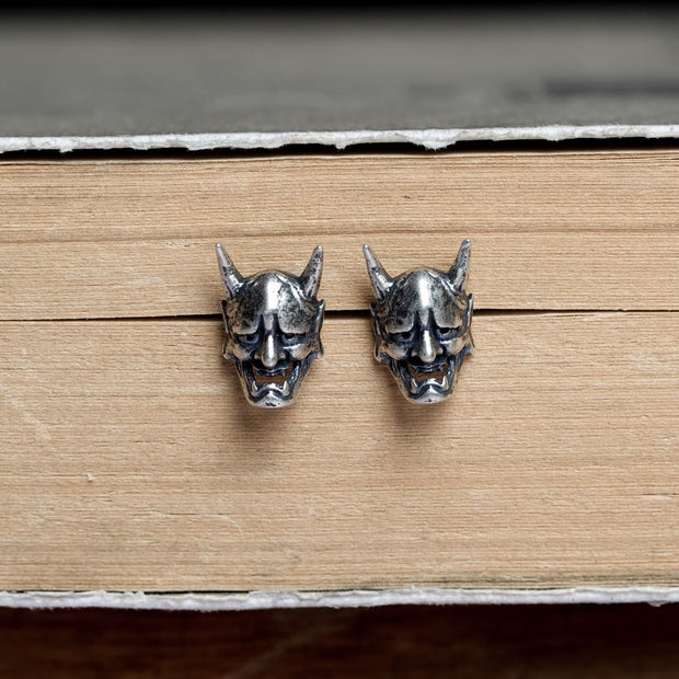 Japanese Oni Noh Hannya Mask Stud Earring Punk Rock Earring