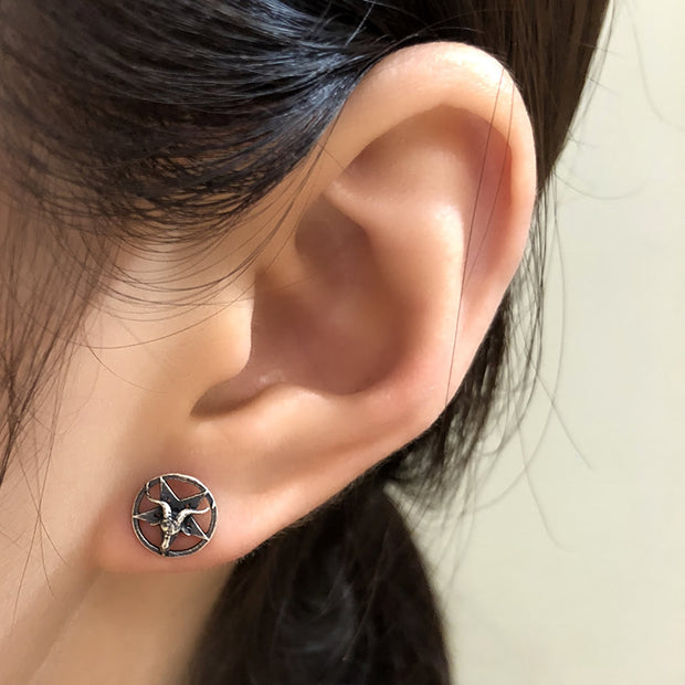 Goat Star Circle Silver Stud Earrings