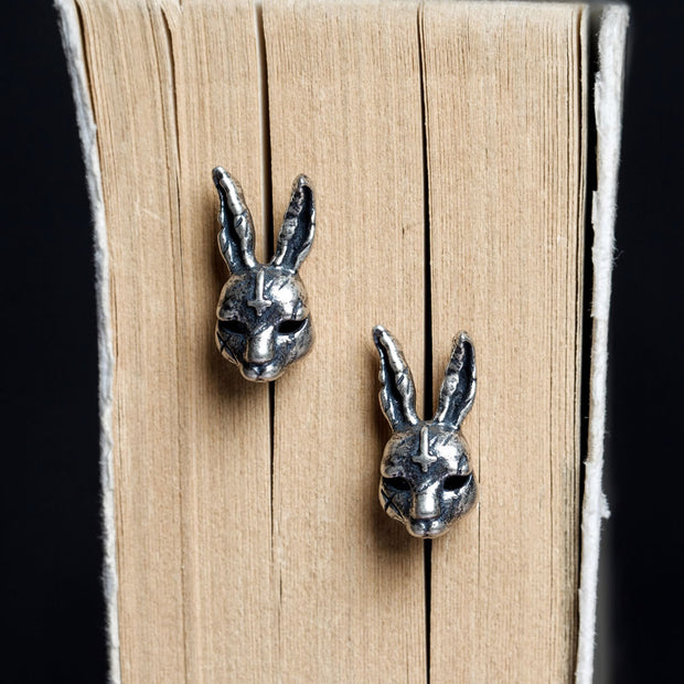 Silver Rabbit Cross Stud Earring Punk Rock Earring