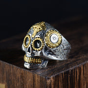Men's Sterling Silver Cross Skull Ring