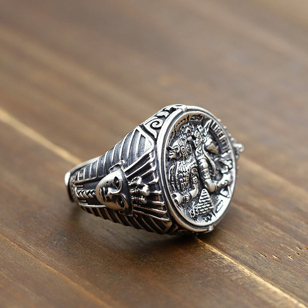 Horus Anubis Egypt Worthy of Ancient Gods Ring Solid 925 Sterling Silver