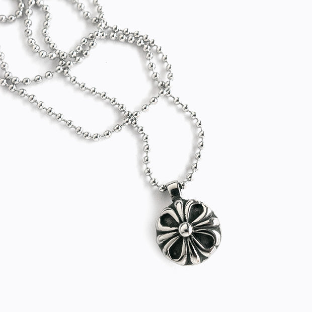 Stainless Steel Cross Floral Ball Necklace