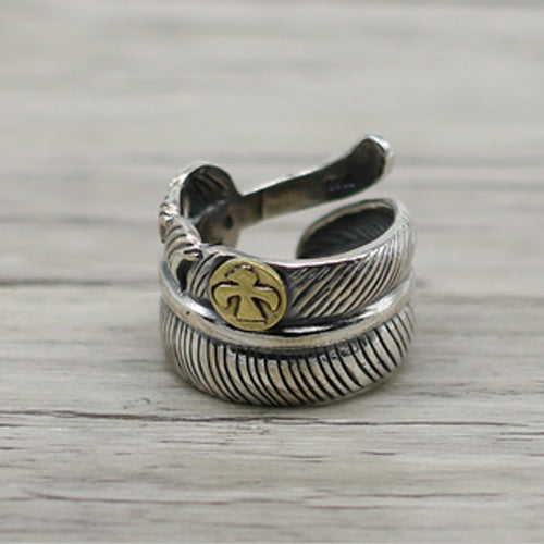 Japanese Rose Feather Couple Ring 925 Sterling Silver